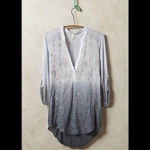 Anthropology TINY grey ombré embroidery popover